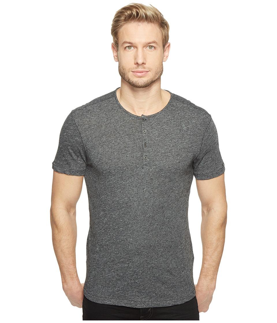 John Varvatos Star U.S.A. - Short Sleeve Knit Henley with Vertical Pickstitch Details K2943T1B (Black) Men's Clothing