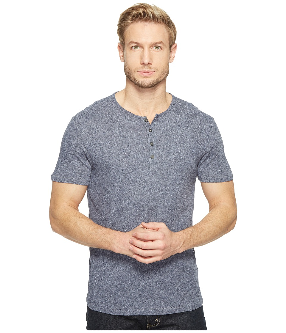 John Varvatos Star U.S.A. Short Sleeve Knit Henley with Vertical Pickstitch Details K2943T1B (Indigo) Men
