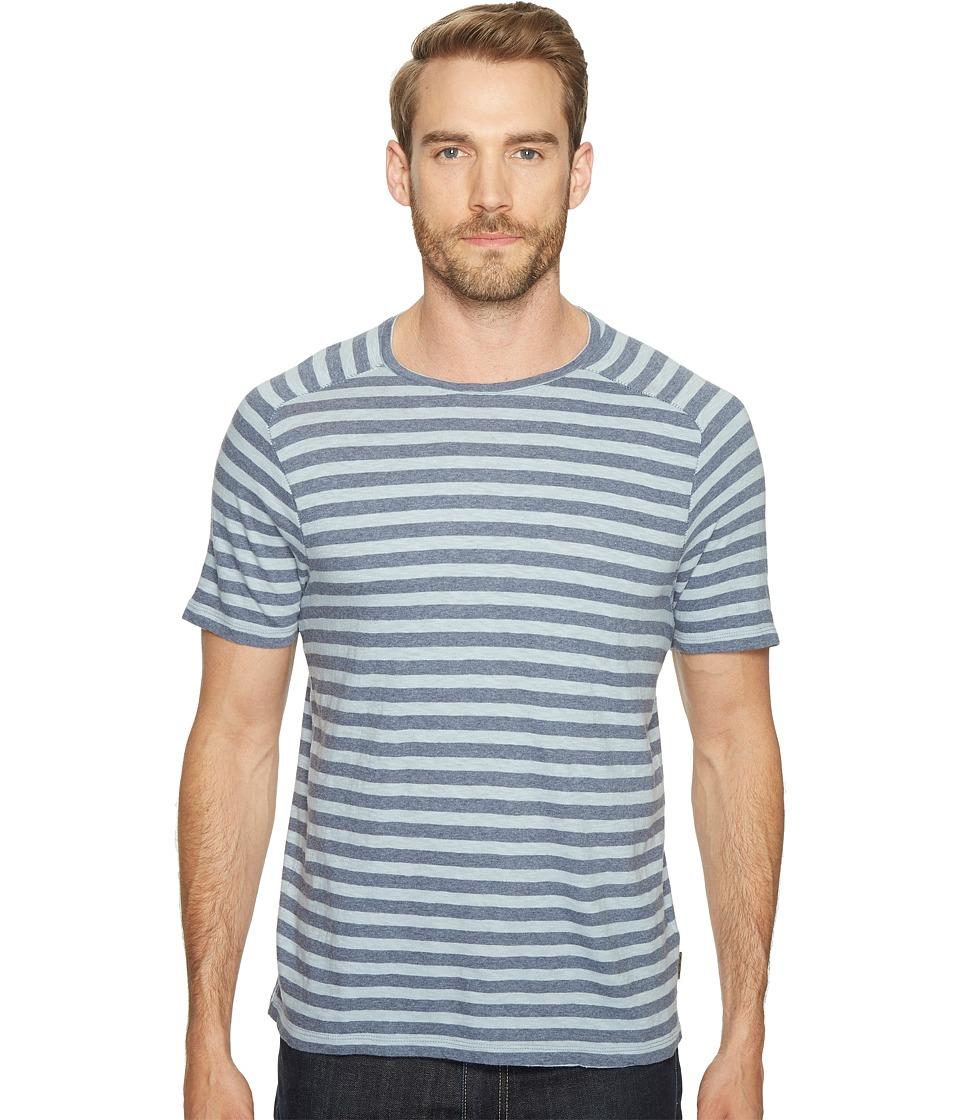John Varvatos Star U.S.A. - Striped Short Sleeve Saddle Shoulder Knit Crew Neck with Vertical Pickstitch Details K2945T1B (Oiled Blue) Men's Clothing