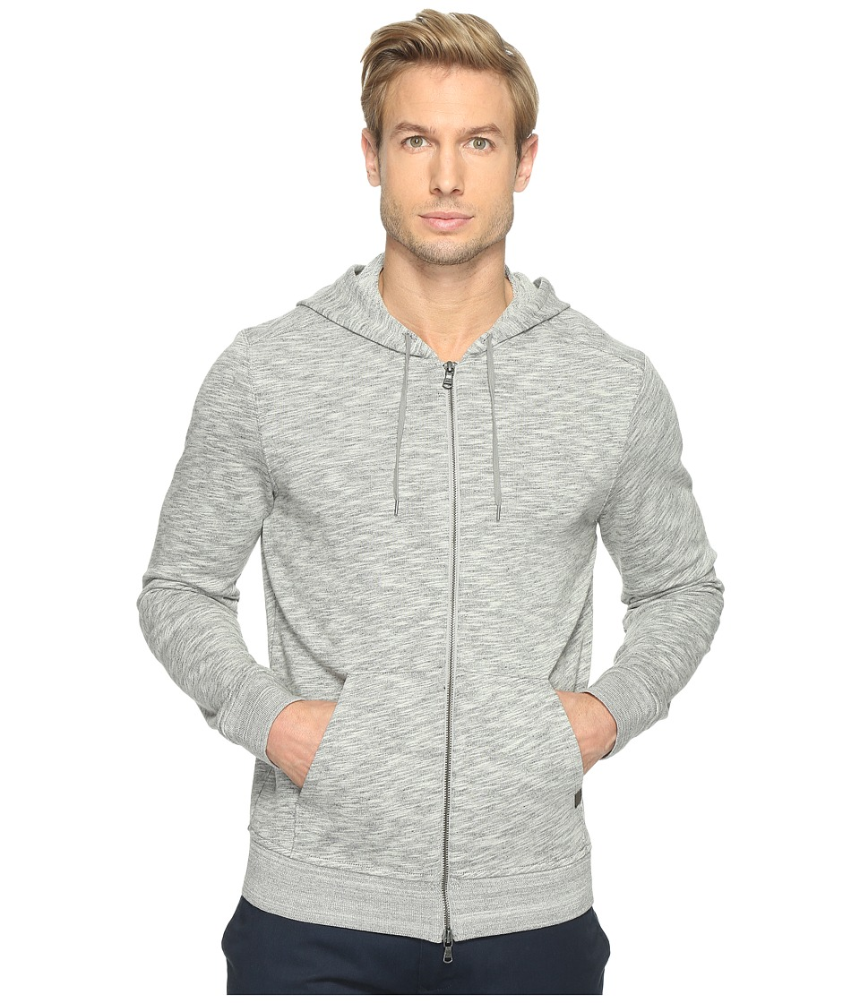 John Varvatos Star U.S.A. - Long Sleeve Two-Way Zip Front Knit Hoodie with Drawcord K2971T1B (Grey Heather) Men's Sweatshirt