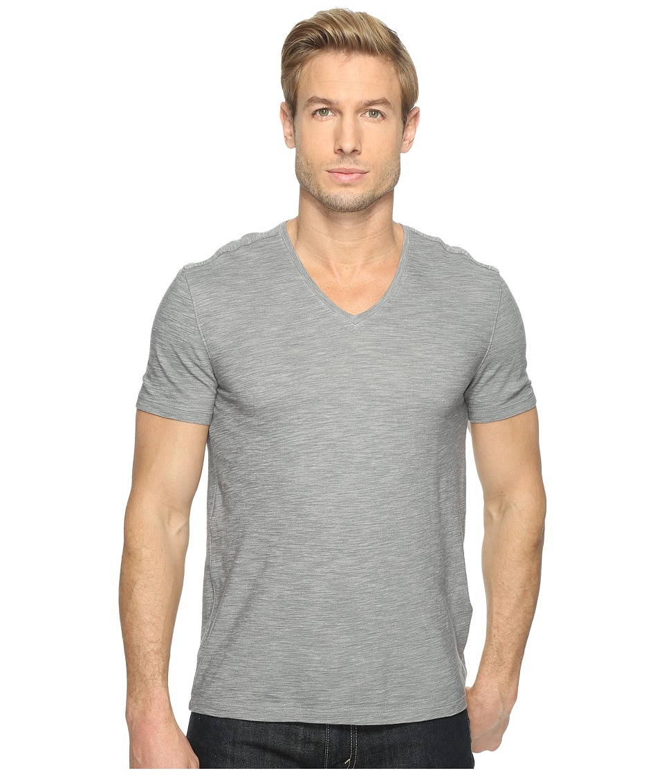 John Varvatos Star U.S.A. - Short Sleeve Knit V-Neck with Self Fabric Detail K2979T1L (Steel Grey) Men's Clothing