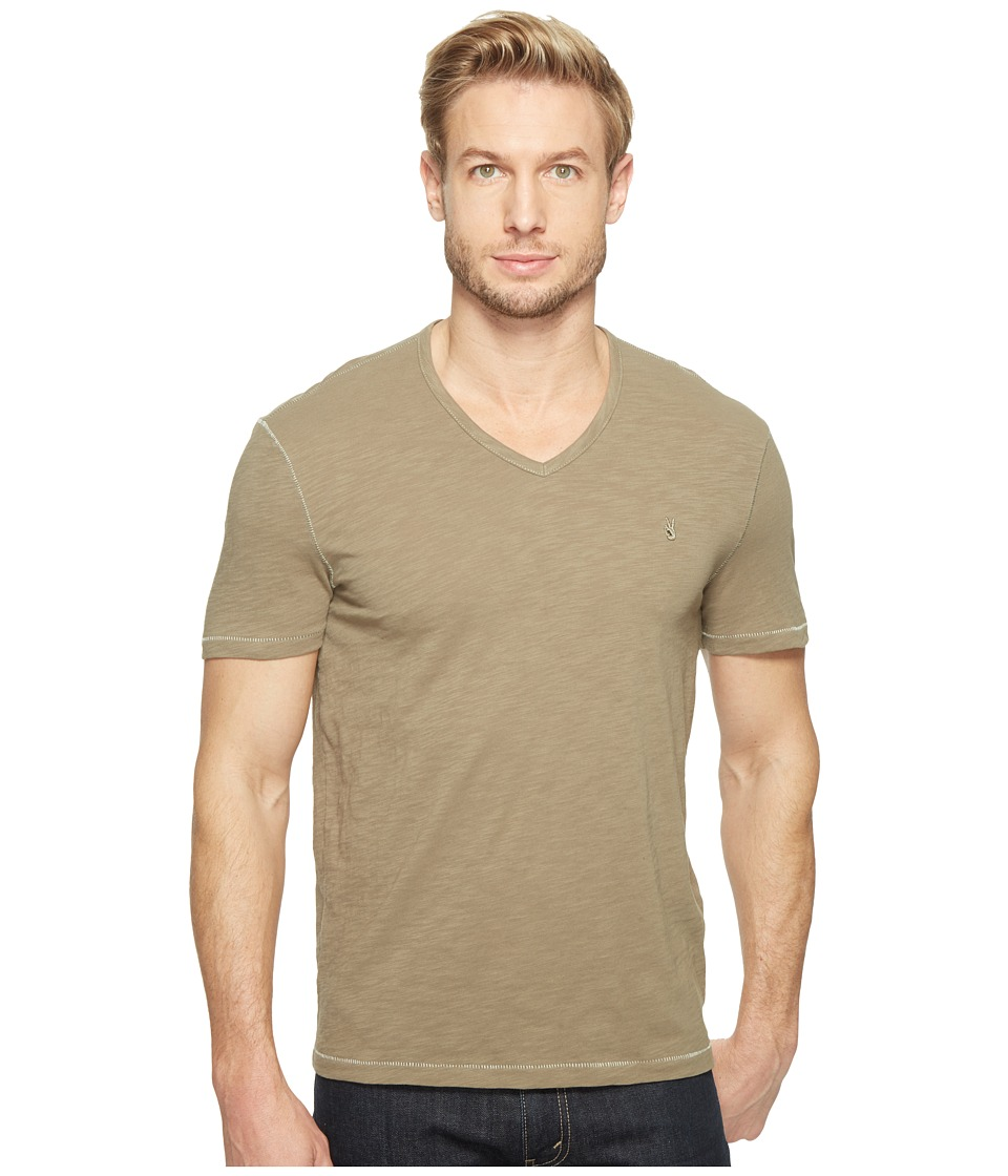 John Varvatos Star U.S.A. - Slub Short Sleeve Peace V-Neck with Peace Sign Chest Embroidery K3037T1B (Sage) Men's Clothing