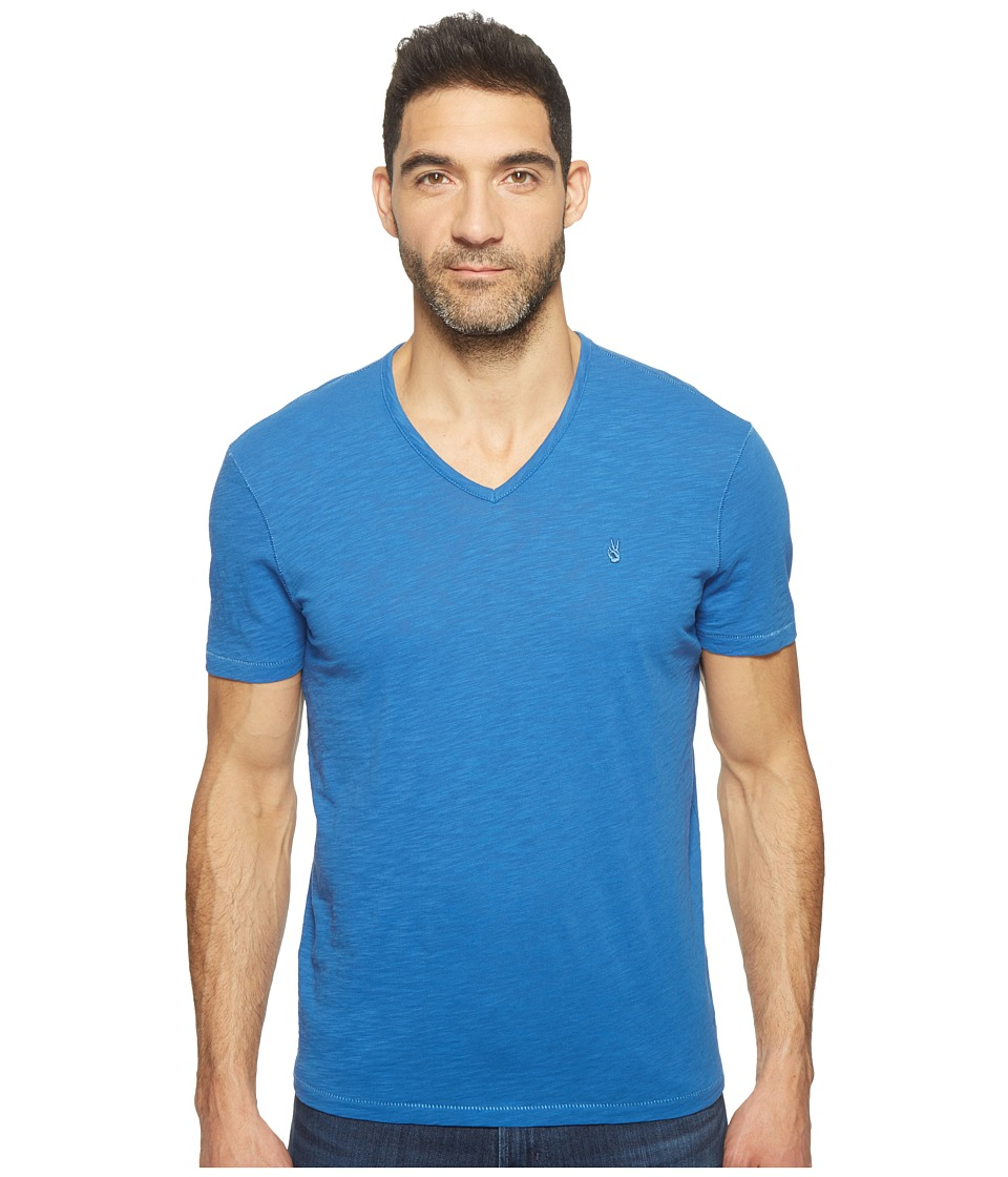 John Varvatos Star U.S.A. - Slub Short Sleeve Peace V-Neck with Peace Sign Chest Embroidery K3037T1B (Blue) Men's Clothing