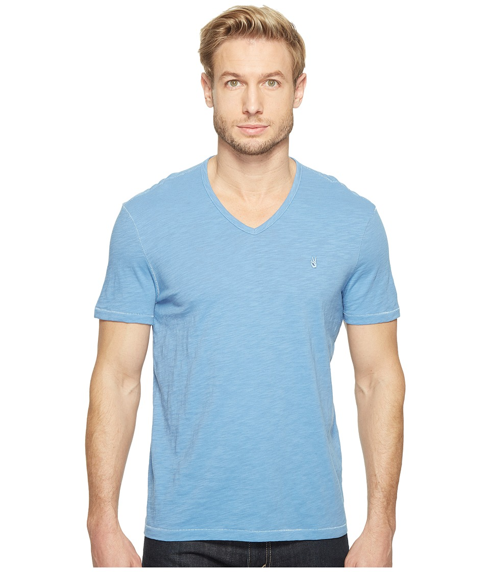 John Varvatos Star U.S.A. - Slub Short Sleeve Peace V-Neck with Peace Sign Chest Embroidery K3037T1B (Ocean Blue) Men's Clothing