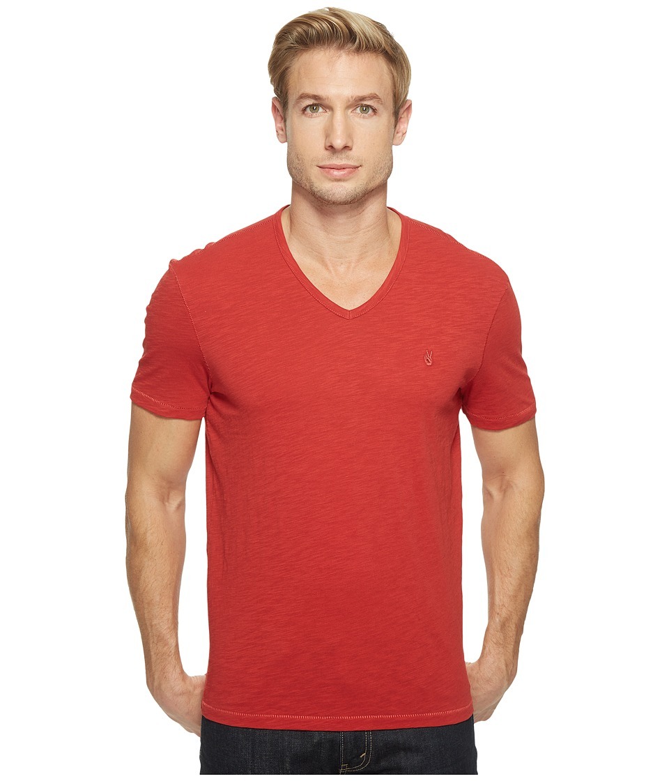 John Varvatos Star U.S.A. - Slub Short Sleeve Peace V-Neck with Peace Sign Chest Embroidery K3037T1B (Poppy) Men's Clothing