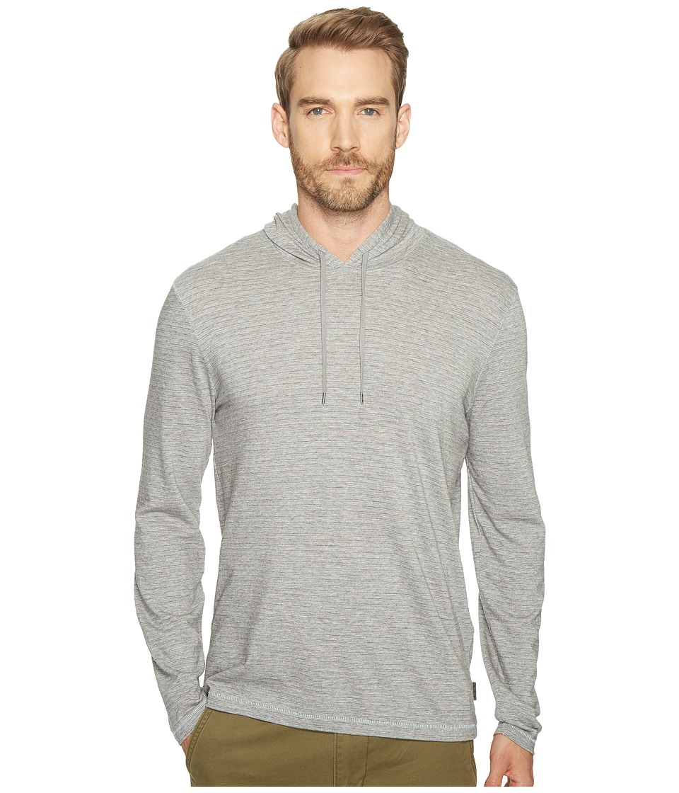 John Varvatos Star U.S.A. - Striped Long Sleeve Pullover Knit Hoodie with Vertical Pickstitch Detail and Drawcord K3039T1B (Grey Heather) Men's Sweatshirt