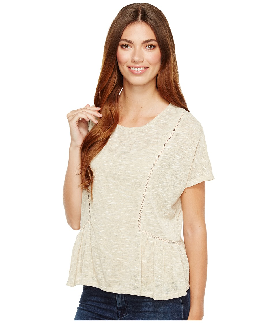B Collection by Bobeau Phoenix Oversized Peplum Knit Top (Oatmeal) Women's Short Sleeve Pullover