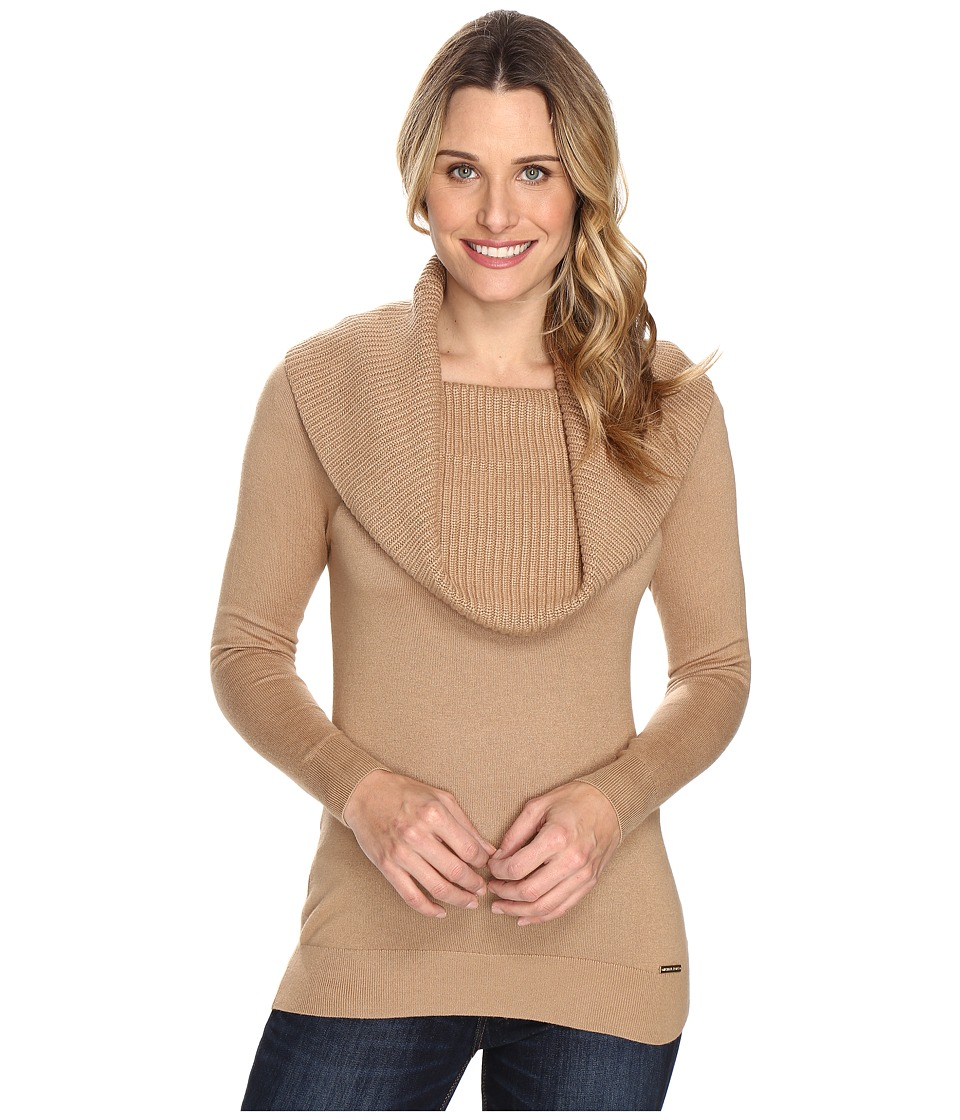 MICHAEL Michael Kors Cowl Long Sleeve Sweater (Dark Camel) Women