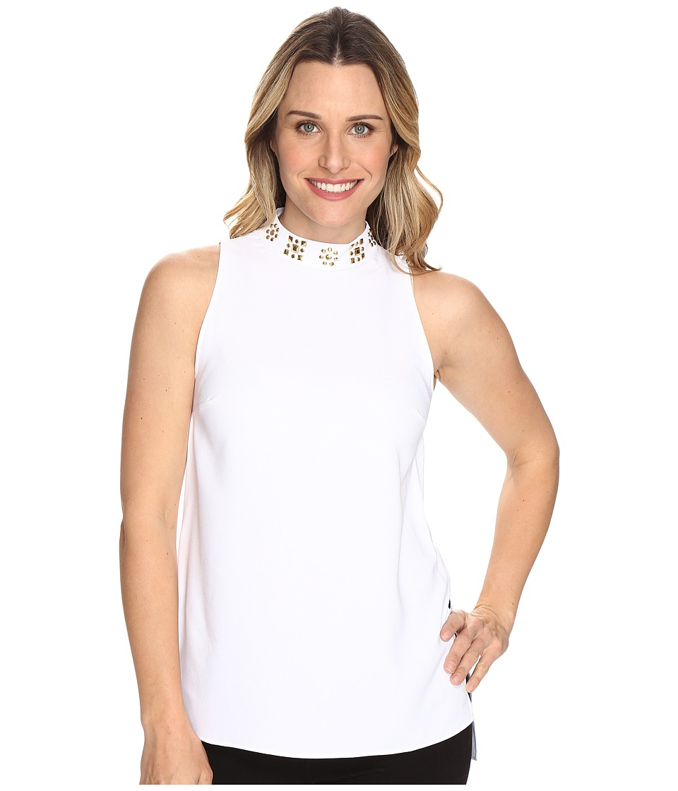 MICHAEL Michael Kors - Embellished Split Hem Tunic (White) Women's Blouse