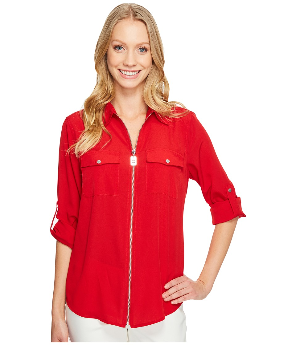 MICHAEL Michael Kors - Dog Tag Zip Top (Red Blaze) Women's Clothing