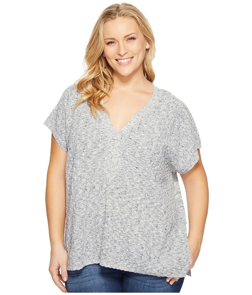 NYDJ Plus Size - Plus Size Lace-Up Tunic Sweater (Kingston Blue) Women's Sweater