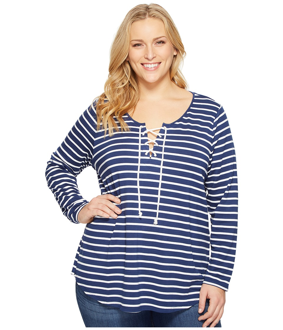 NYDJ Plus Size - Plus Size French Terry Lace-Up Top (Indi...