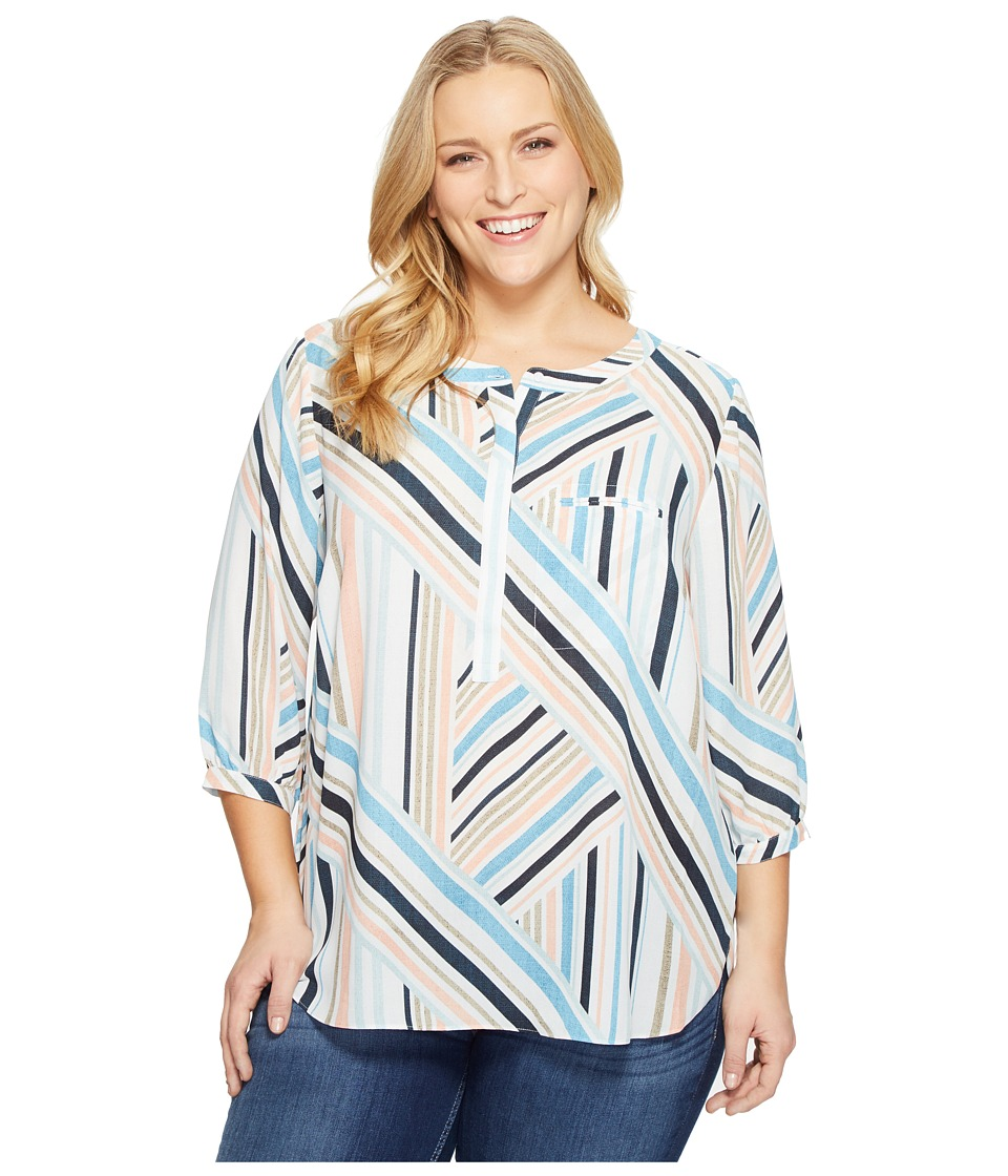 NYDJ Plus Size - Plus Size Solid 3/4 Sleeve Pleat Back (Beachfront Stripe Corsica Blue) Women's Long Sleeve Button Up