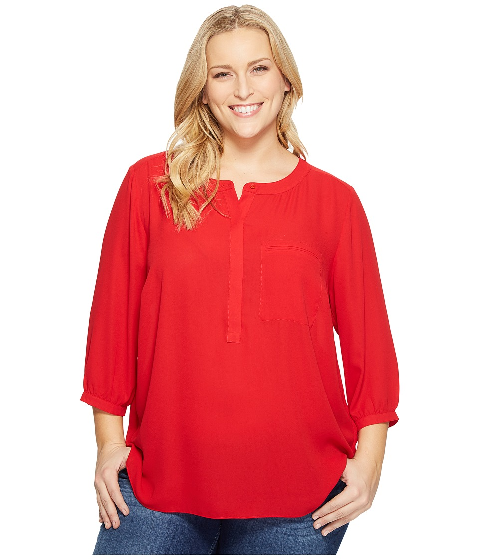 NYDJ Plus Size - Plus Size Solid 3/4 Sleeve Pleat Back (Sweet Strawberry) Women's Long Sleeve Button Up