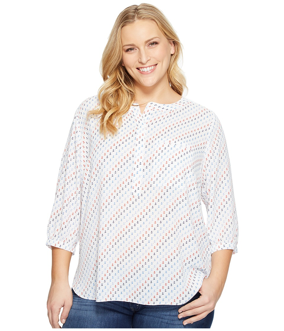 NYDJ Plus Size - Plus Size Solid 3/4 Sleeve Pleat Back (Resort Anchors Blue) Women's Long Sleeve Button Up