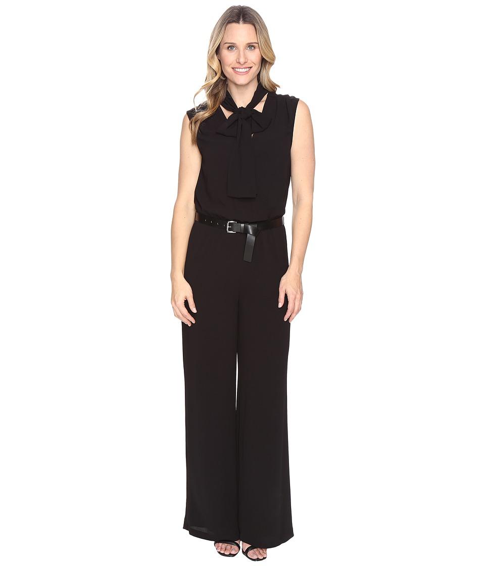 MICHAEL Michael Kors - Tie Neck Wide Leg Jumpsuit (Black) Women's Jumpsuit & Rompers One Piece