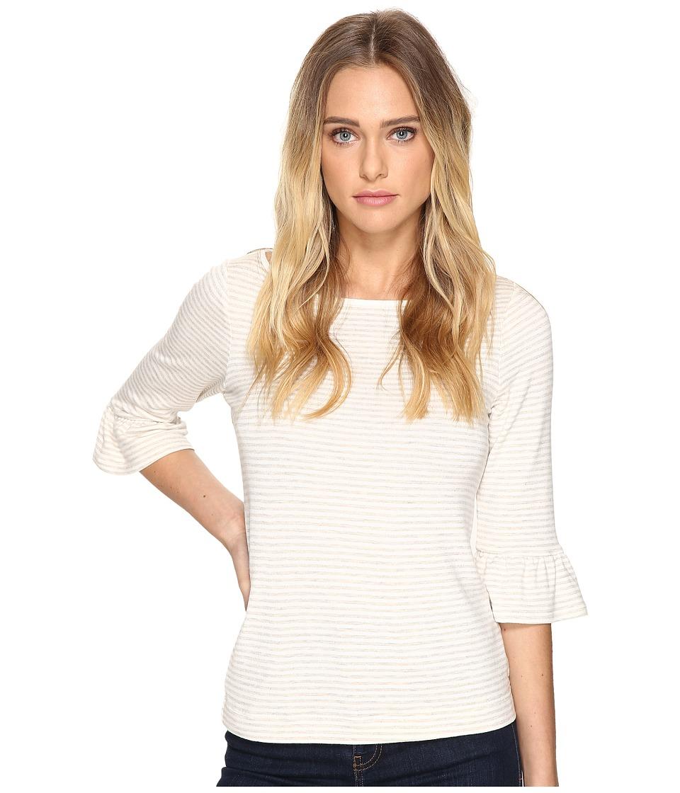 Three Dots - 3/4 Sleeve Raglan Tee (Natural/White) Women's T Shirt