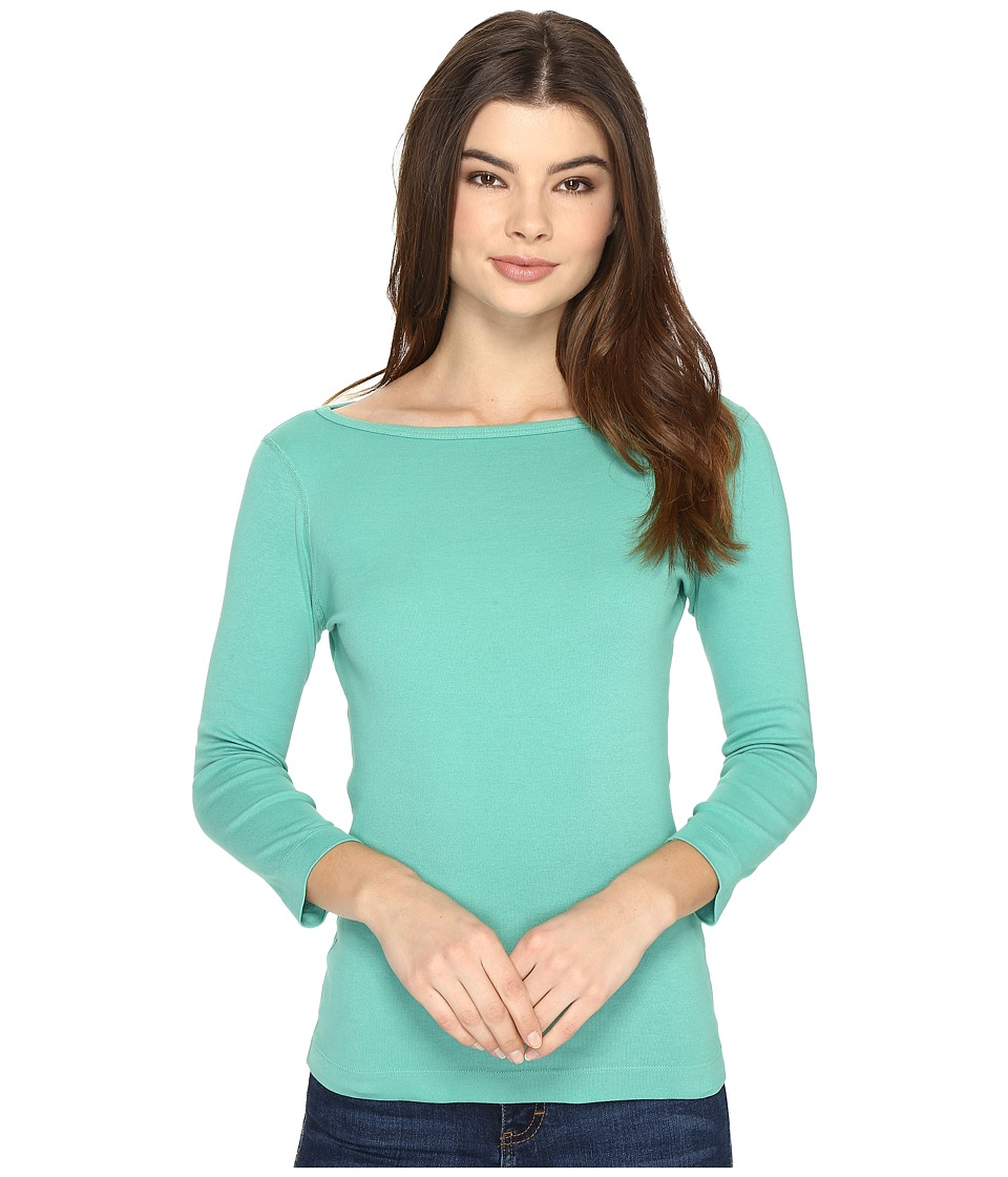 Three Dots - Essential British Neck 3/4 Sleeve Top (Green Pond) Women's Clothing