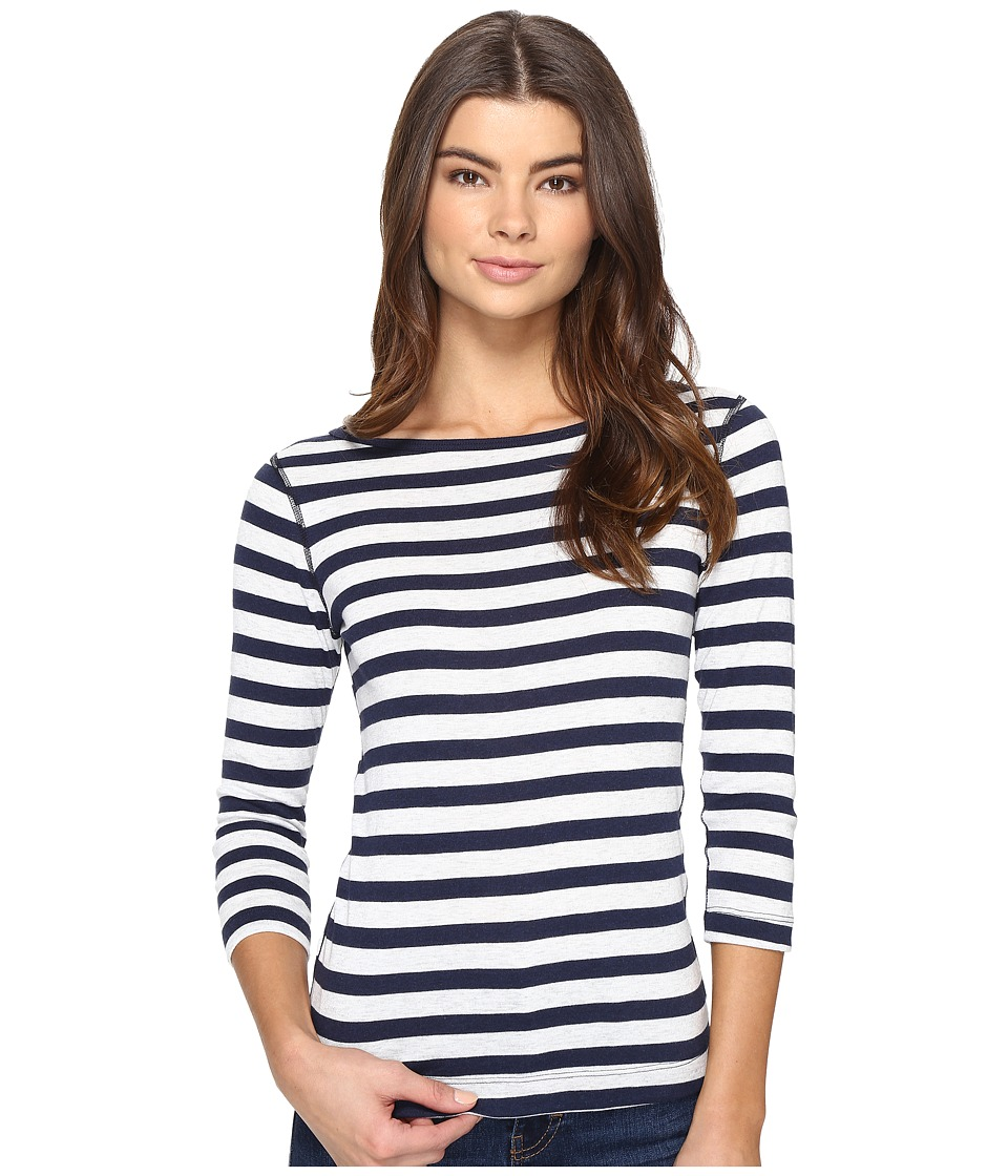 Three Dots - Stripe 3/4 Sleeve British Tee (Coastal Stripe) Women's T Shirt
