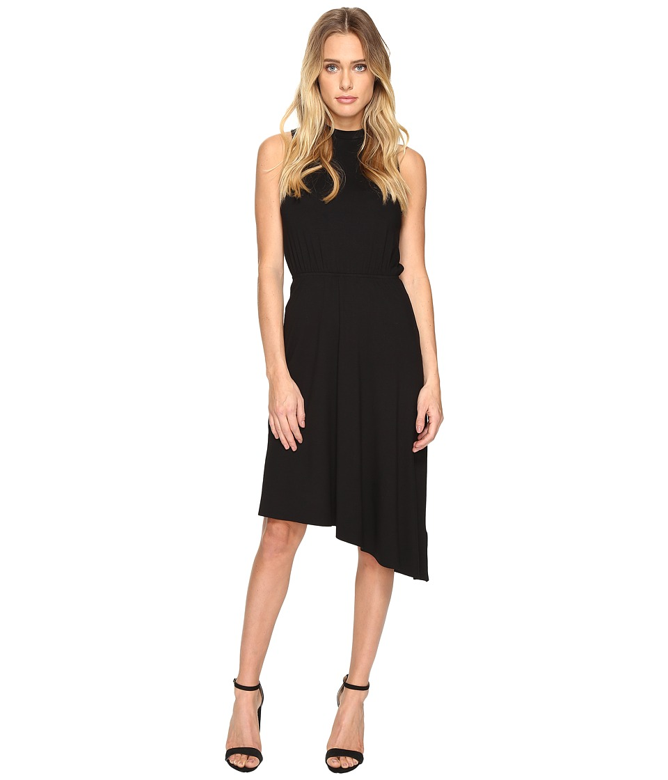 Three Dots Asymmetrical Jersey Dress (Black) Women