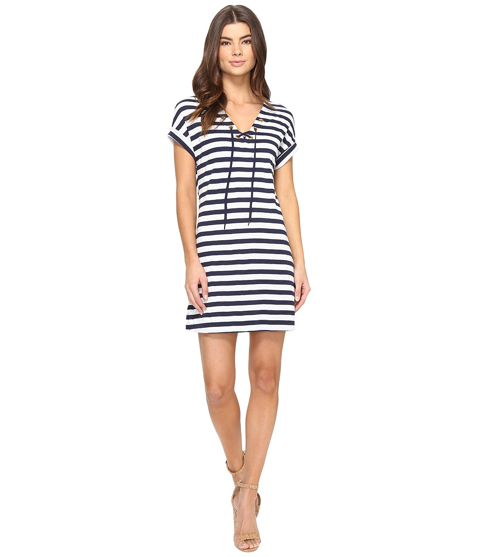 Three Dots - Stripe Tie Front Dress (Coastal Stripe) Women's Dress