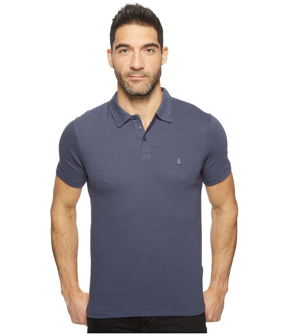 John Varvatos Star U.S.A. - Striped Soft Collar Peace Polo with Peace Sign Chest Embroidery K1381T1B (Deep Blue) Men's Clothing