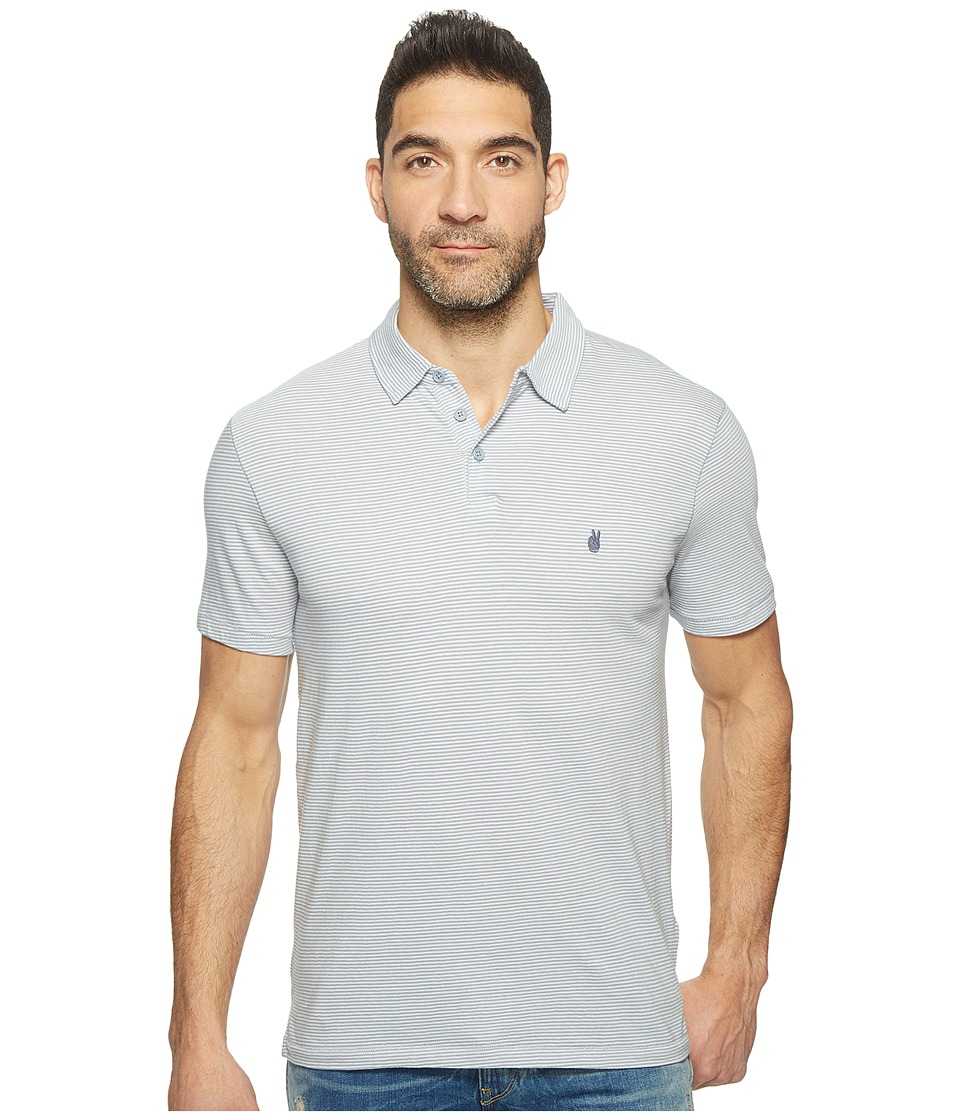 John Varvatos Star U.S.A. - Striped Soft Collar Peace Polo with Peace Sign Chest Embroidery K1381T1B (Steel Blue) Men's Clothing