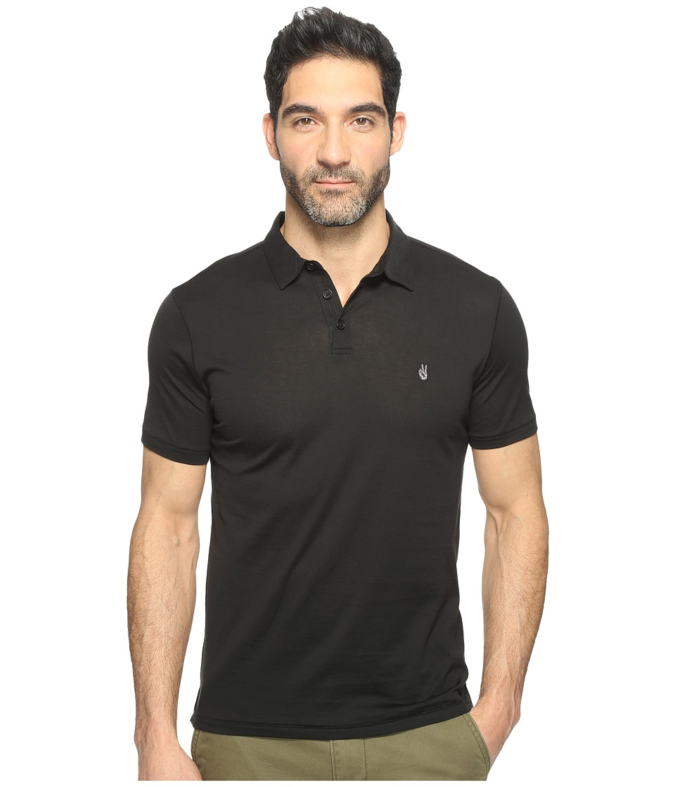 John Varvatos Star U.S.A. - Matte Sheen Soft Collar Peace Polo with Peace Sign Chest Embroidery K1381T1B (Black) Men's Clothing
