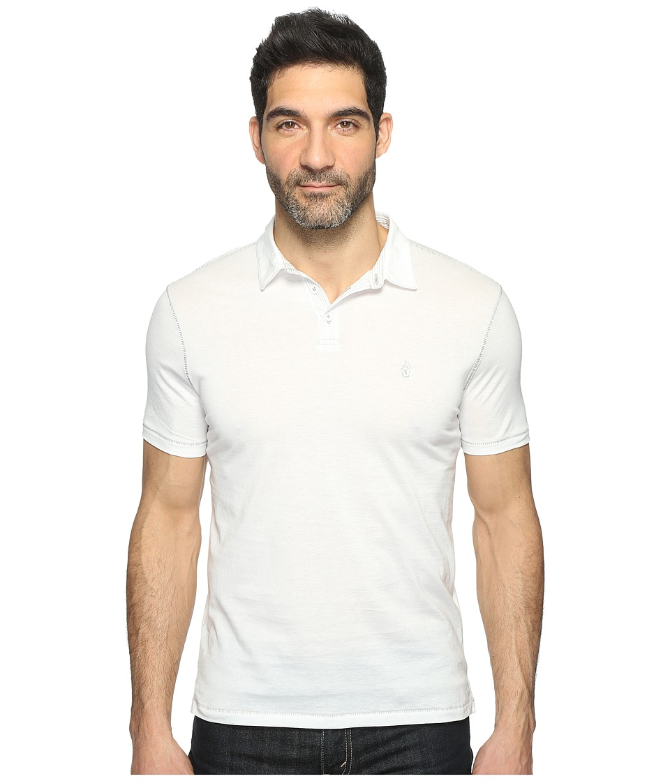 John Varvatos Star U.S.A. - Matte Sheen Soft Collar Peace Polo with Peace Sign Chest Embroidery K1381T1B (Salt) Men's Clothing