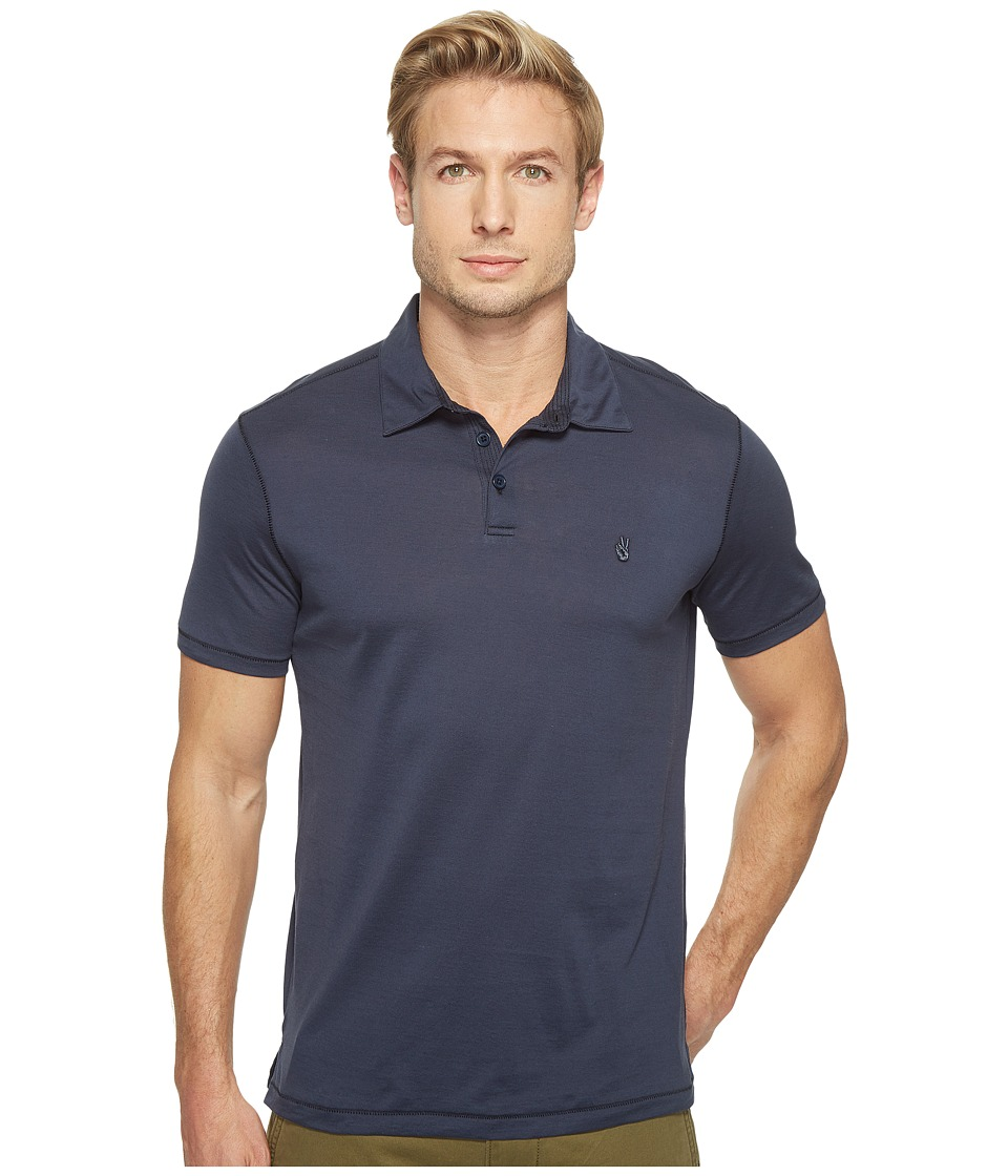 John Varvatos Star U.S.A. - Matte Sheen Soft Collar Peace Polo with Peace Sign Chest Embroidery K1381T1B (Indigo) Men's Clothing