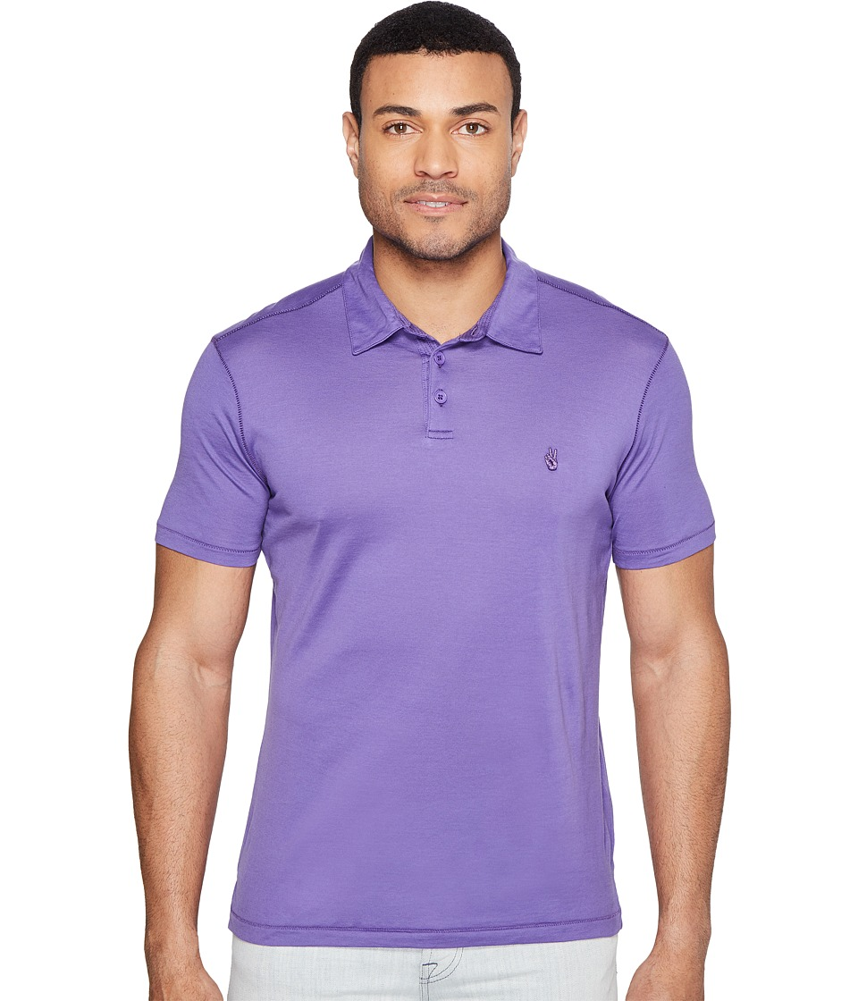 John Varvatos Star U.S.A. - Matte Sheen Soft Collar Peace Polo with Peace Sign Chest Embroidery K1381T1B (Purple) Men's Clothing