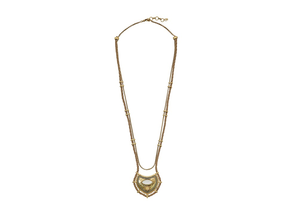 Lucky Brand - Long Leather Beaded Pendant Necklace (Gold) Necklace