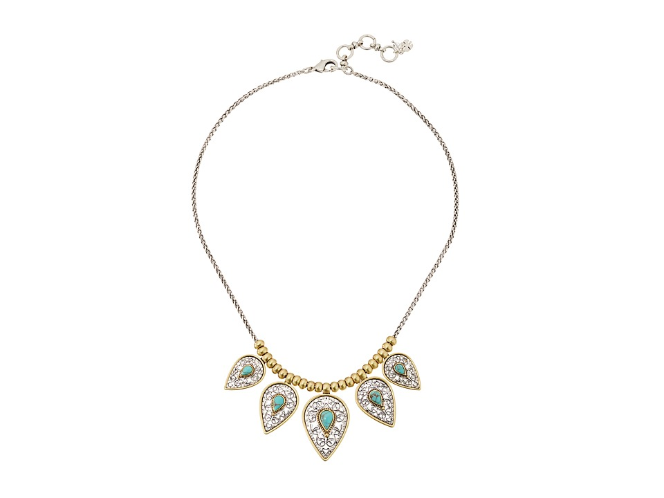 Lucky Brand - Etched Turquoise Collar Necklace (Two-Tone) Necklace