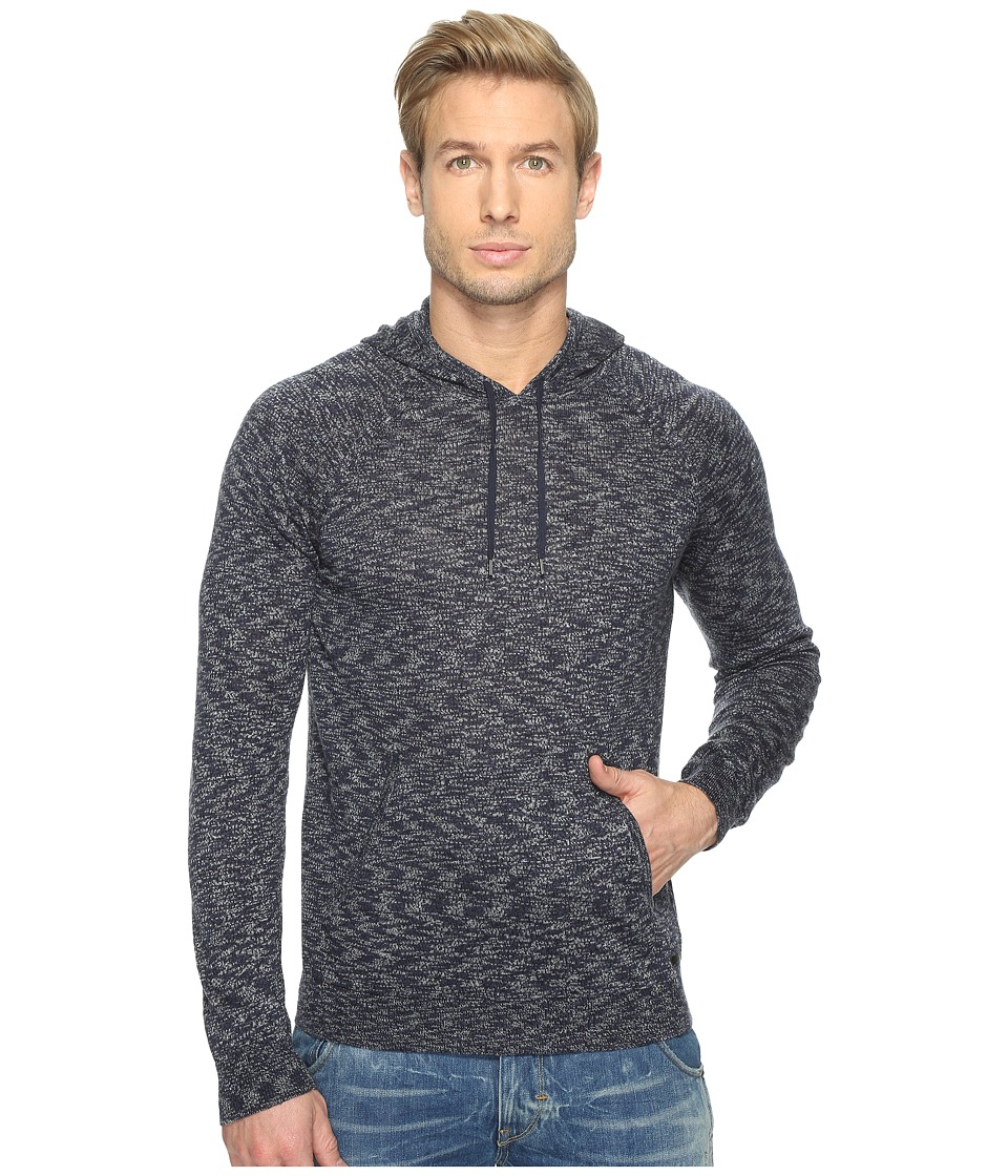 John Varvatos Star U.S.A. - Space Dyed Pullover Hoodie Sweater with Metal Tipped Drawcord Y1477T1B (Deep Blue) Men's Sweater