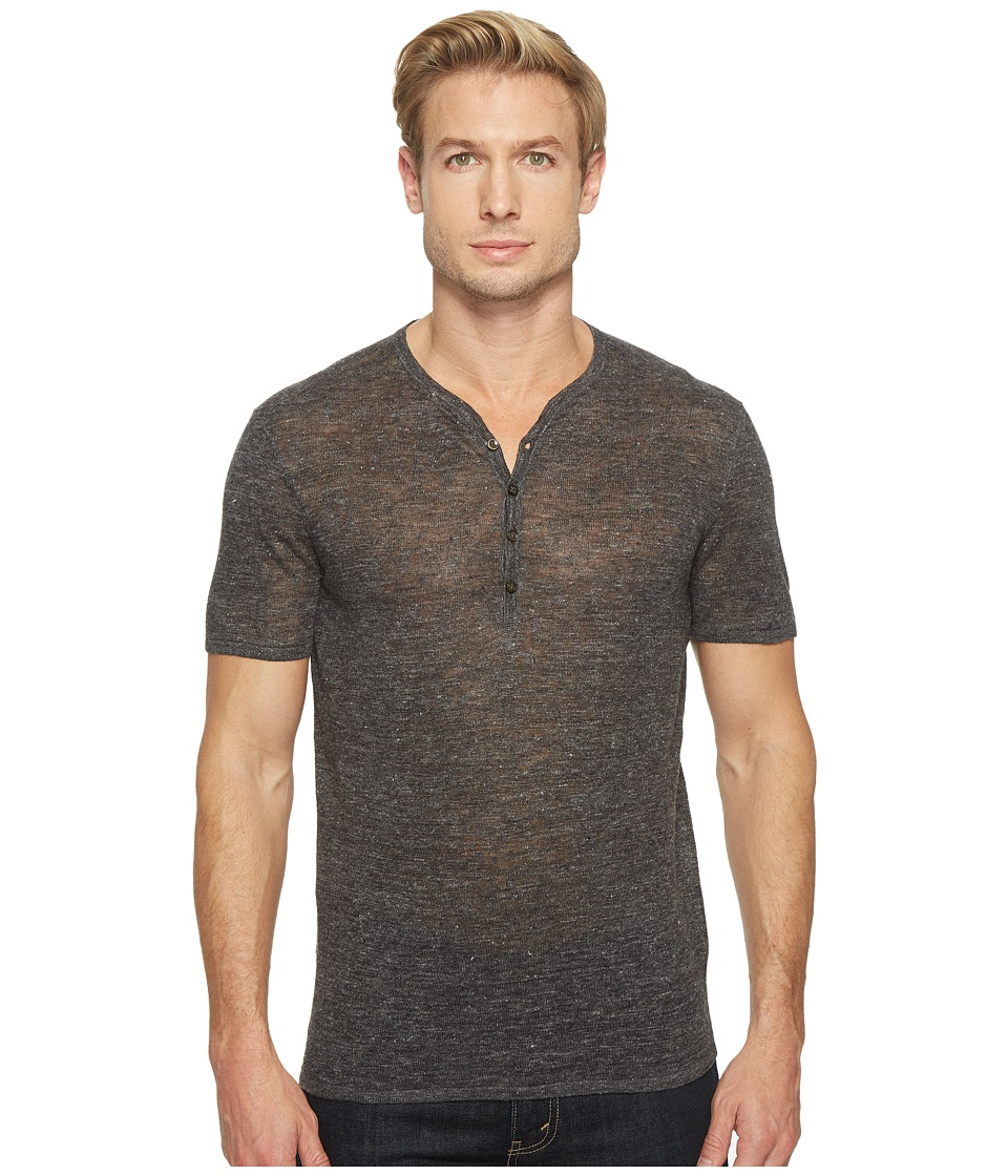 John Varvatos Star U.S.A. - Heathered Short Sleeve Drop Neck Henley Sweater Y1517T1L (Charcoal Heather) Men's Sweater
