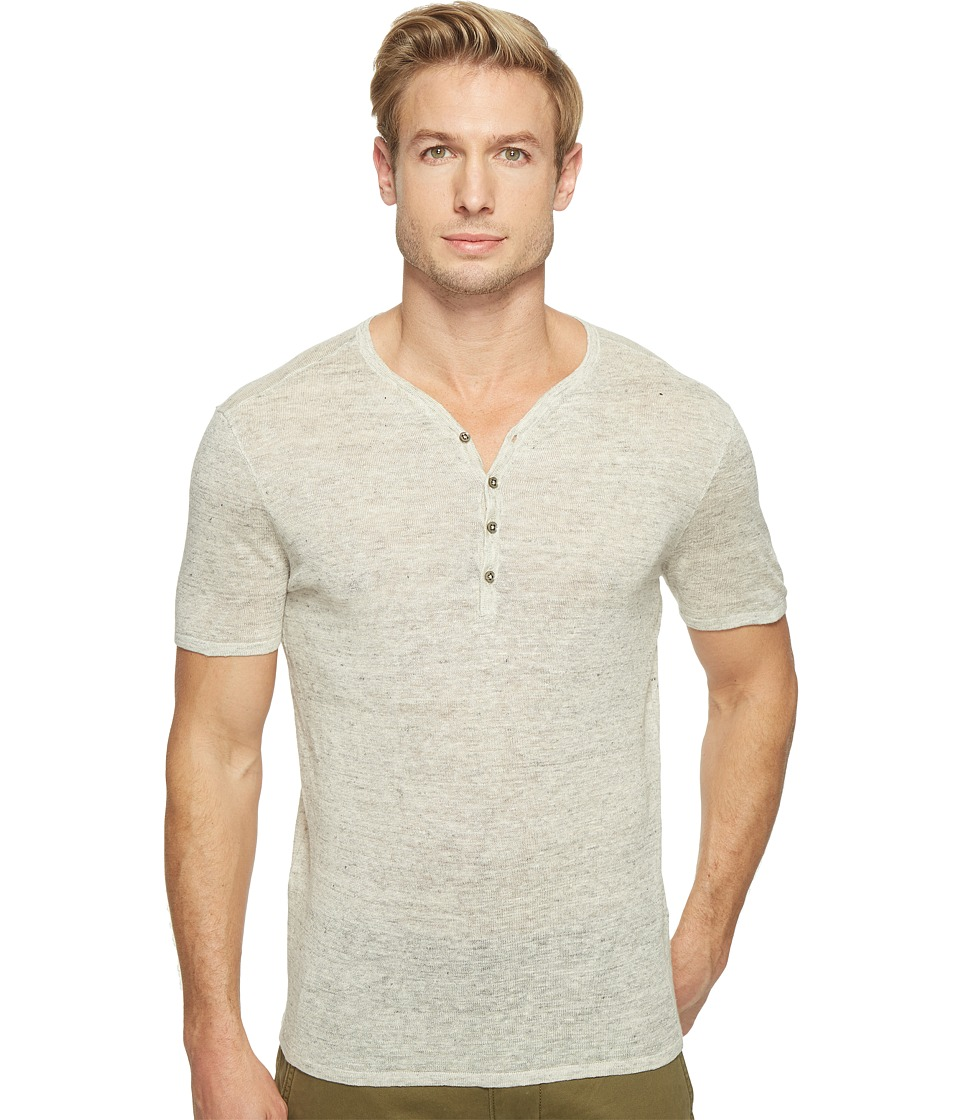 John Varvatos Star U.S.A. - Heathered Short Sleeve Drop Neck Henley Sweater Y1517T1L (Chalk) Men's Sweater