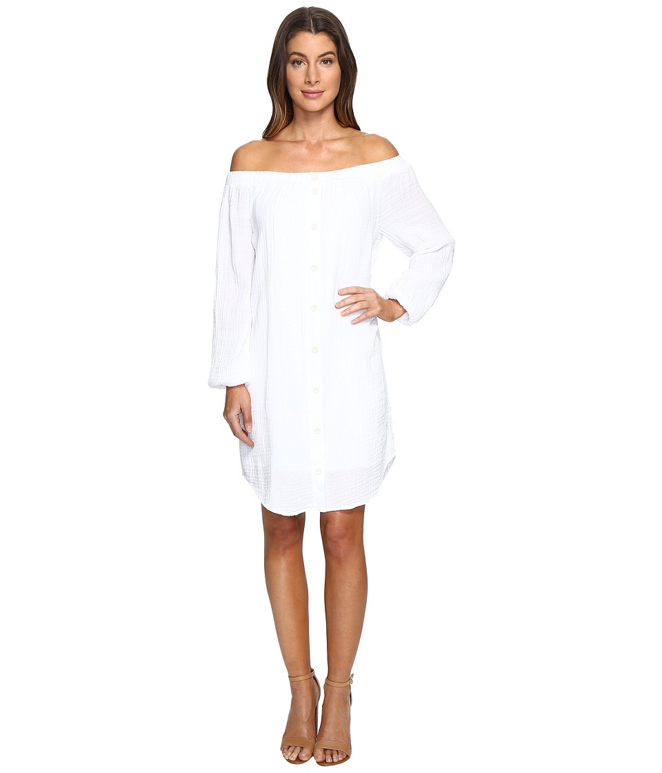 Three Dots - Off Shoulder Shirt Tunic (White) Women's Clothing