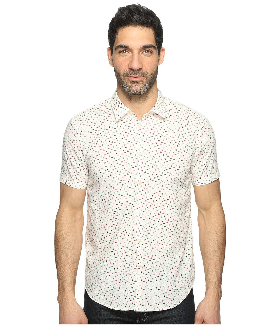 John Varvatos Star U.S.A. - Mayfiled Slim Fit Sport Shirt with Cuffed Short Sleeves W443T1B (Milk) Men's Clothing