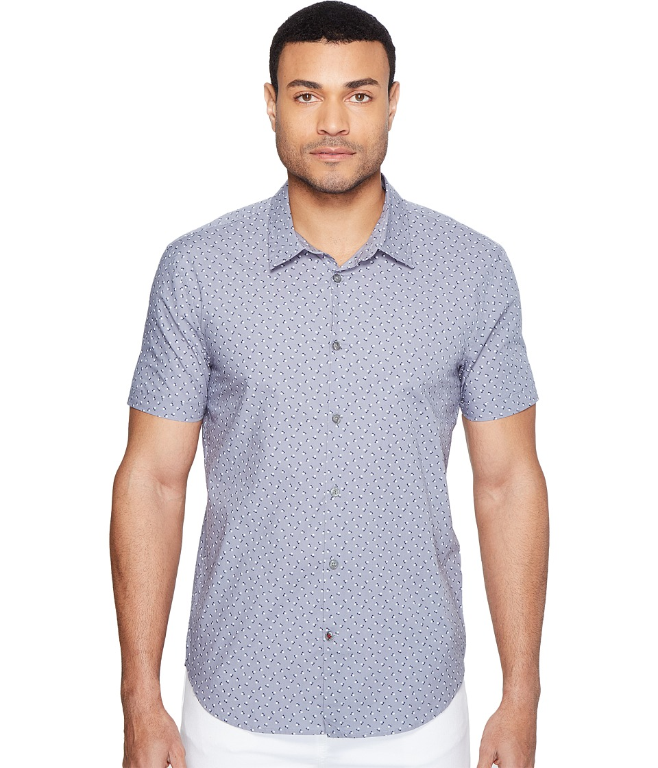 John Varvatos Star U.S.A. - Mayfiled Slim Fit Sport Shirt with Cuffed Short Sleeves W443T1B (Steel Blue) Men's Clothing