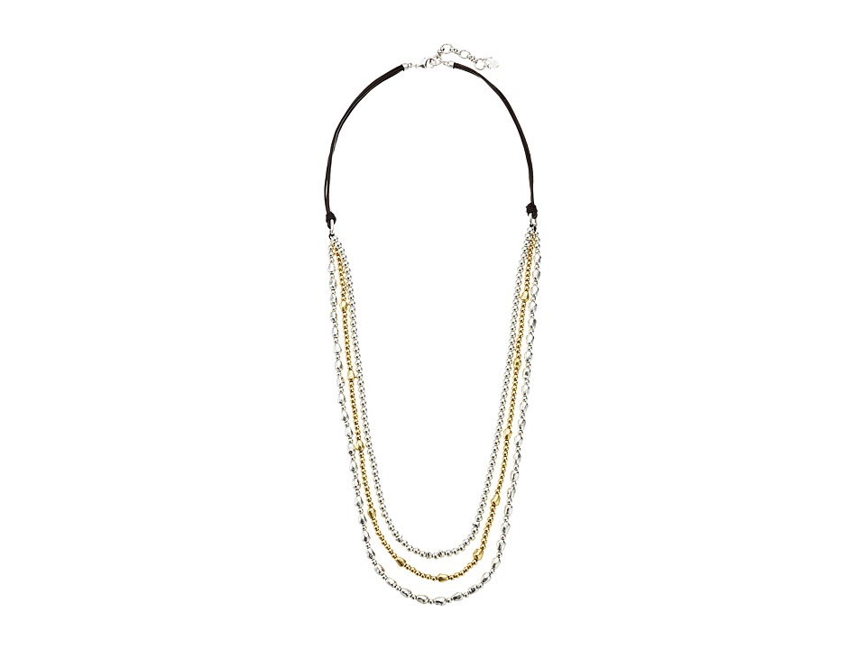 Lucky Brand - Triple Strand Leather Necklace (Two-Tone) Necklace