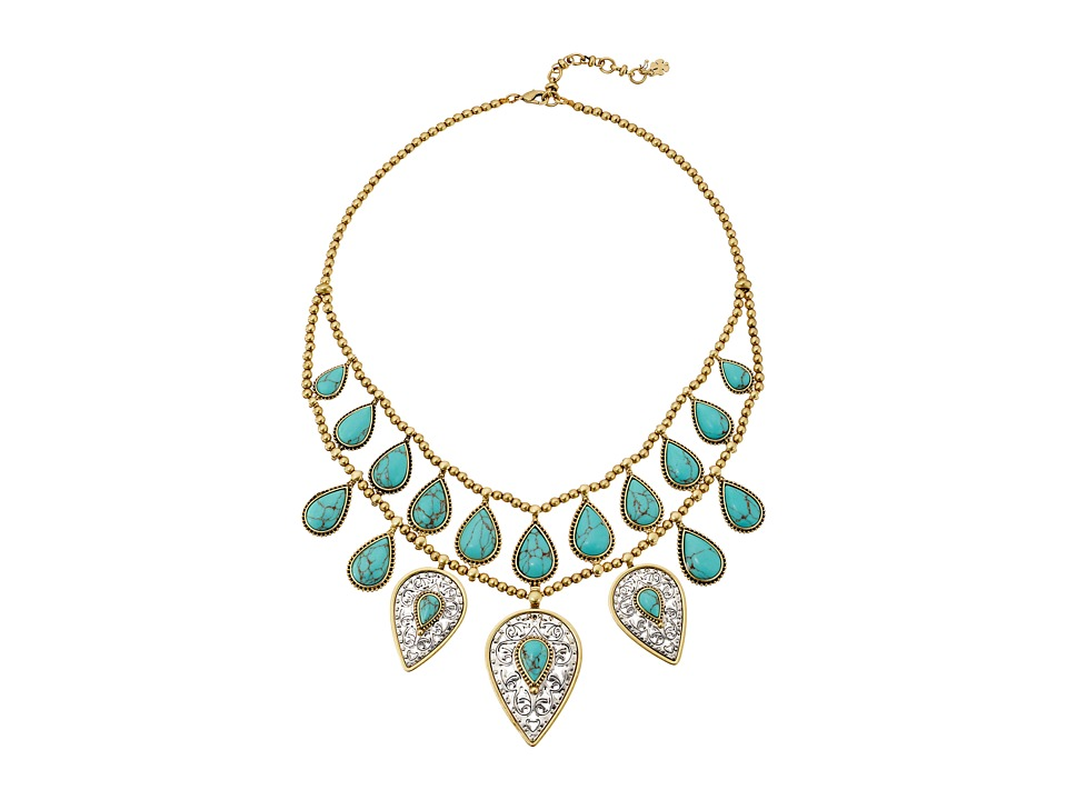 Lucky Brand - Etched Turquoise Drop Bib Necklace (Two-Tone) Necklace