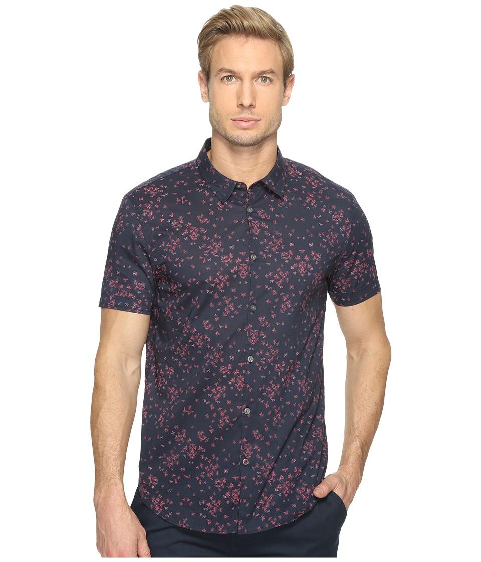 John Varvatos Star U.S.A. - Mayfiled Slim Fit Sport Shirt with Cuffed Short Sleeves W443T1B (Deep Blue) Men's Clothing
