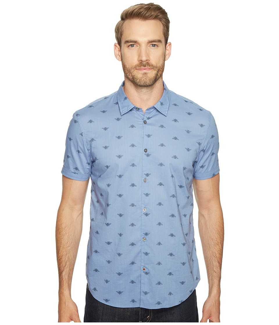 John Varvatos Star U.S.A. - Mayfiled Slim Fit Sport Shirt with Cuffed Short Sleeves W443T1B (Water Blue) Men's Clothing