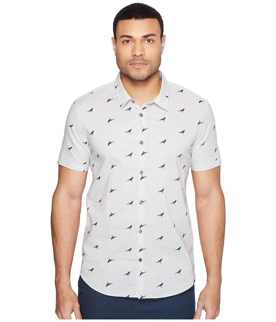 John Varvatos Star U.S.A. - Mayfiled Slim Fit Sport Shirt with Cuffed Short Sleeves W443T1B (Pearl Grey) Men's Clothing