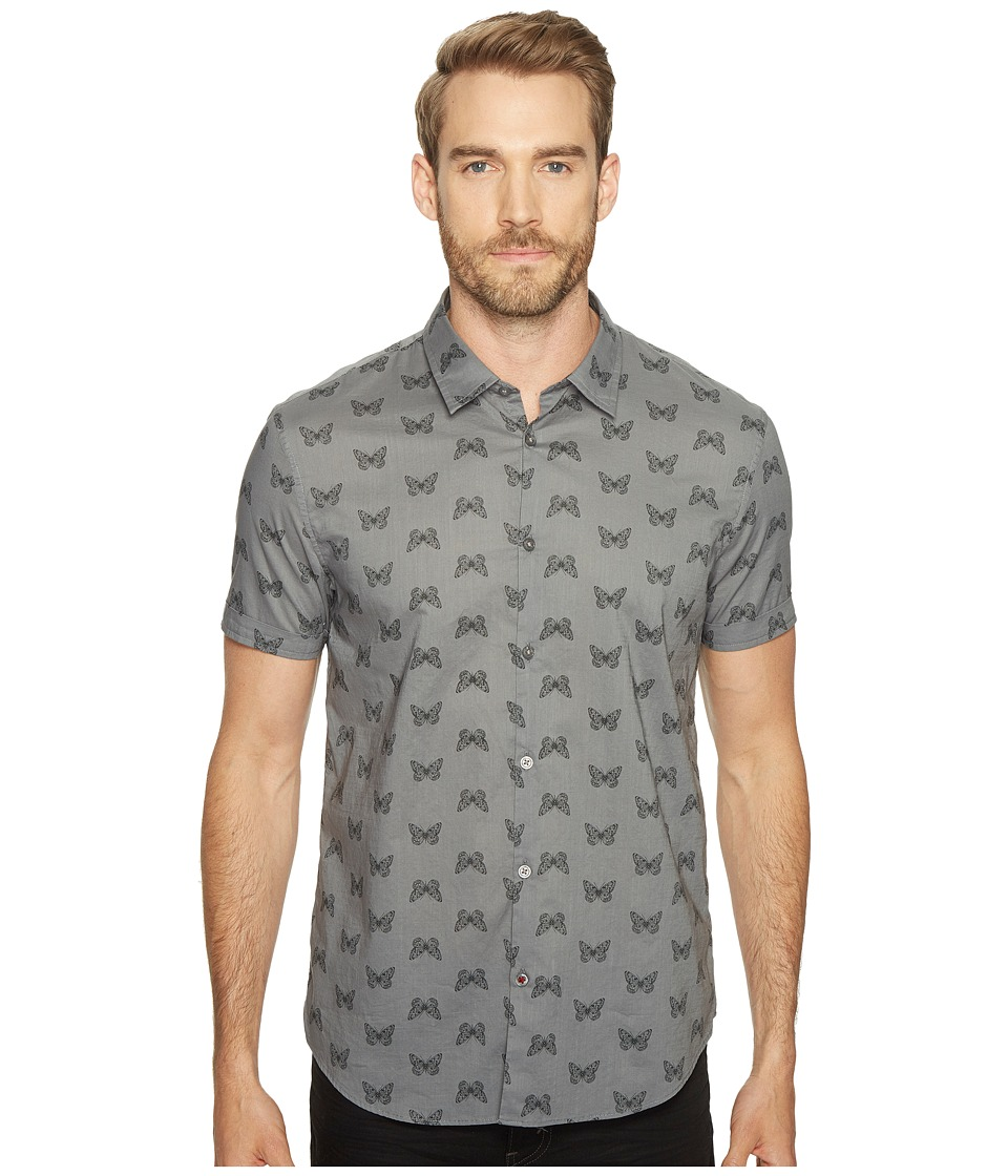 John Varvatos Star U.S.A. - Mayfiled Slim Fit Sport Shirt with Cuffed Short Sleeves W443T1B (Silver Grey) Men's Clothing