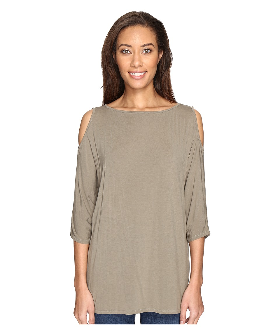 Michael Stars Lycra Jersey 3/4 Sleeve Cold Shoulder Tunic (Olive Moss) Women