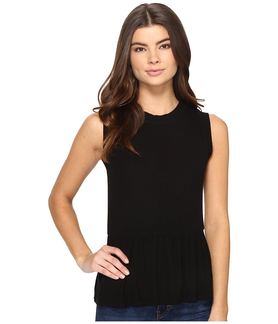 Three Dots - Sleeveless Peplum (Black) Women's Clothing