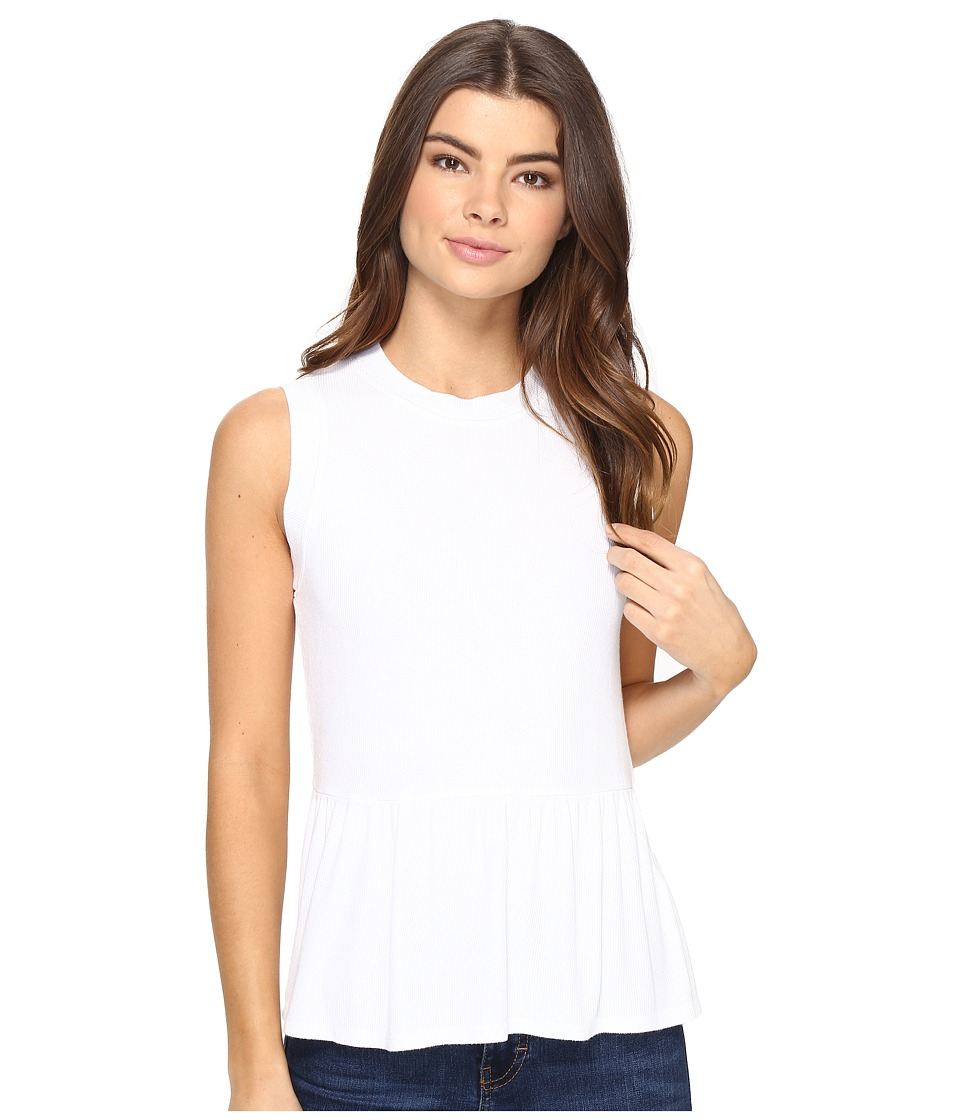 Three Dots - Sleeveless Peplum (White) Women's Clothing