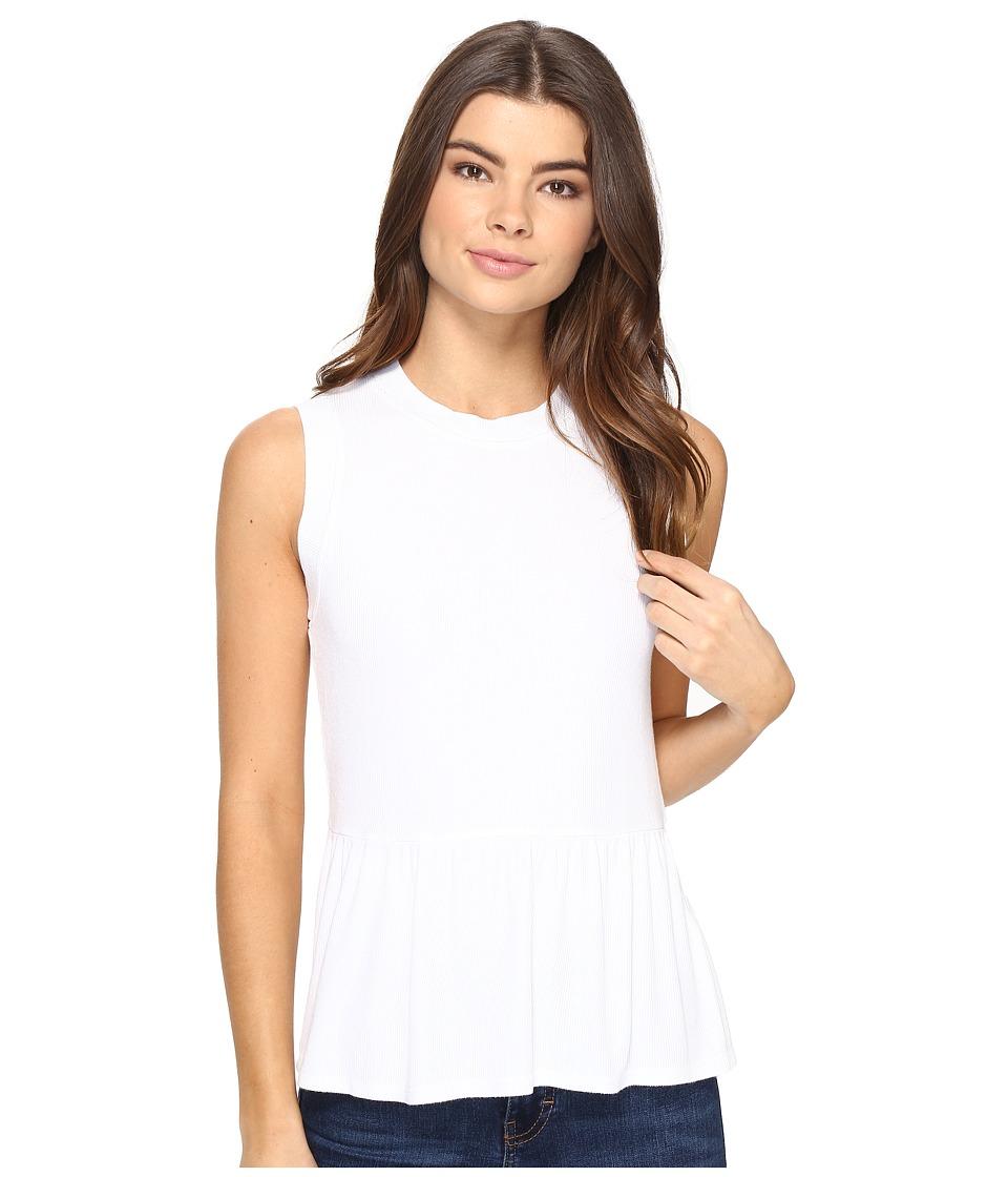 Three Dots - Sleeveless Peplum (White) Women's Clothing