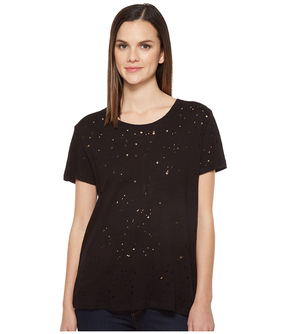Michael Stars - Ripped Textured Jersey Short Sleeve Crew Neck (Black) Women's Clothing